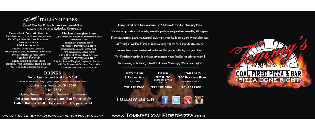 Tommys Coal Fired Pizza, New Jersey, To Go Menu